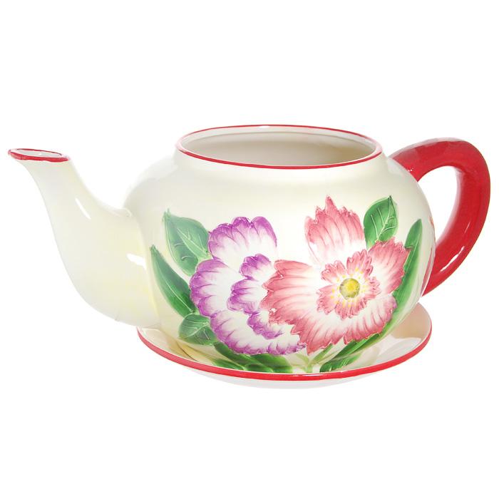 Горшок для цветов, с поддоном. XY10S012C4601137053059Горшок для цветов, изготовленный из керамики, выполнен в виде заварочного чайника, который предназначен для установки внутрь растения. Горшок, оформленный яркими красками, обладает долговечностью и износостойкостью. Это изделие не потеряет яркости красок и четкости форм даже после длительной эксплуатации. Горшок для цветов часто становится последним штрихом, который совершенно изменяет интерьер помещения или ландшафтный дизайн сада. Благодаря такому горшку вы сможете украсить вашу комнату, офис, сад и другие места.
