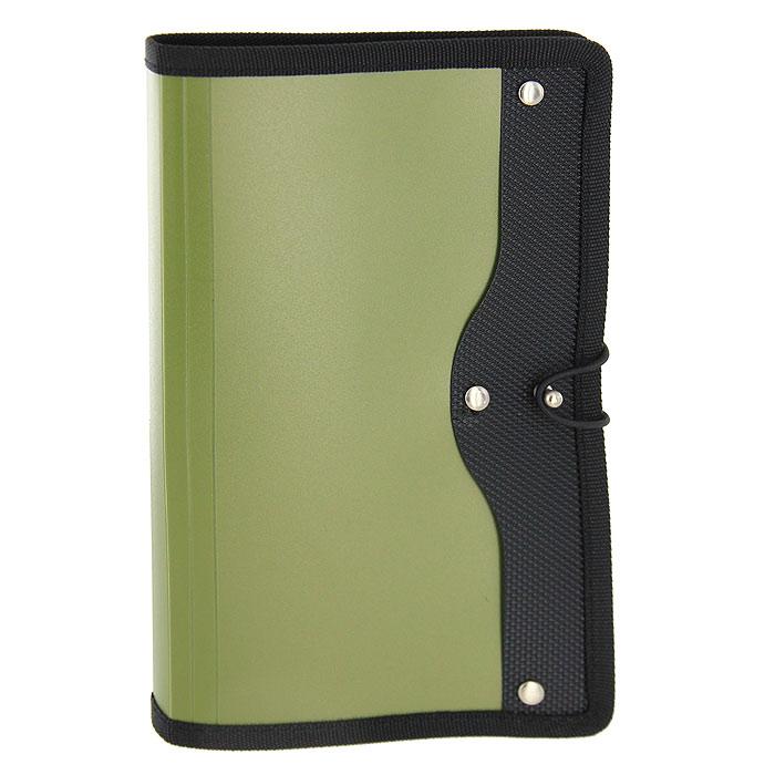 Визитница Index, на 120 визиток, цвет: хакиICH45/GNСовременная практичная и вместительная визитница в обложке цвета хаки, предназначена для хранения и систематизации визитных кар. Визитница, выполненная из высококачественного полипропилена с тканевой окантовкой и застежкой-резинкой, рассчитана на 120 визиток. Характеристики: Материал: пластик, металл, текстиль. Размер визитницы (в закрытом виде): 14 см x 23,5 см x 1,5 см.