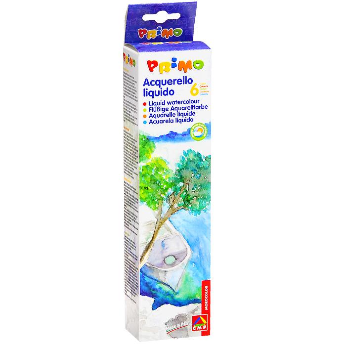 Жидкая акварель 6 цвx25мл238AT6Жидкие акварельные краски Primo идеально подходят как для детей, так и для профессионалов. Жидкая акварель прекрасно ложится на бумагу любой плотности, а также на грунтованный картон. Несмотря на то, что краска жидкая, ее также можно разбавлять водой для получения более прозрачных оттенков. Комплект включает шесть баночек с краской желтого, красного, синего, зеленого, коричневого и черного цветов и удобную палитру с выемками для смешивания красок.