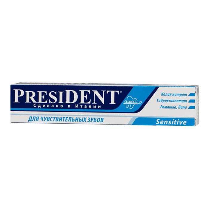Зубная паста President Sensitive, для чувствительных зубов, 75 мл4310-500760Зубная паста President Sensitive восстанавливает защиту нервных волокон, заполняет микротрещины. Уменьшает реакцию на раздражители: горячее-холодное, кислое-сладкое. Обладает противовоспалительным и болеутоляющим действиями. Предупреждает образование зубного камня и укрепляет зубную эмаль. Особенно деликатно удаляет зубной налет, не травмируя чувствительные ткани.