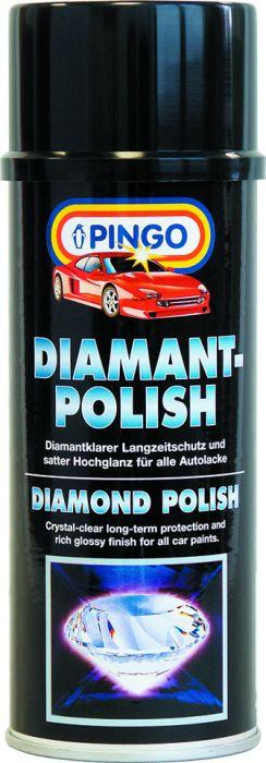 Алмазная полироль Pingo, аэрозоль, 400 мл00054-5Полироль Pingo предназначена для защитной обработки лакокрасочного покрытия кузова автомобиля и придания ему сочного блеска. Может использоваться для любых типов лаков и красок. Особенности полироли Pingo: Входящие в состав полироли силиконовые масла и полимерные микровоски обеспечивают долговременную защиту лакокрасочного покрытия от агрессивных воздействий окружающей среды (соль, ультрафиолетовое излучение, перепады температур и т.д.) Алмазная полироль превосходит все обычные восковые полироли по длительности консервирующего эффекта. Защитная пленка сохраняет свои свойства и эффективность в течение 6 месяцев и выдерживает до 30 моек. Препарат содержит порозаполнители, которые выравнивают структуру покрытия, заполняя микротрещины краски и мелкие царапины. После обработки лакокрасочное покрытие приобретает насыщенный цвет и сочный блеск. Обработанное лакокрасочное покрытие обладает повышенными водо- и грязеотталкивающими...