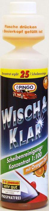 Добавка в бачок стеклоомывателя Pingo, с ароматом апельсина, 250 мл00788-9Моющий концентрат для стеклоочистителей Pingo (концентрат 1:100) быстро и эффективно очищает стекло от дорожной грязи, масляных пятен, следов насекомых и т.д. Не оставляет разводов, подтеков и мутной пленки, обеспечивая тем самым безопасность и комфорт вождения. Удаляет известковые отложения в системе стеклоомывания, препятствуя закупорке шлангов и распылительных форсунок. Состав содержит специальные компоненты, продлевающие срок службы резиновых накладок дворников. Флакон снабжен специальным дозатором, позволяющим легко отмерять нужное количество концентрата. С натуральным ароматом апельсина. Способ применения: Добавьте состав в бачок стеклоомывателя из расчета 25 мл концентрата на 2,5 литра воды. Характеристики: Объем: 250 мл. Производитель: Германия. Артикул: 00788-9.