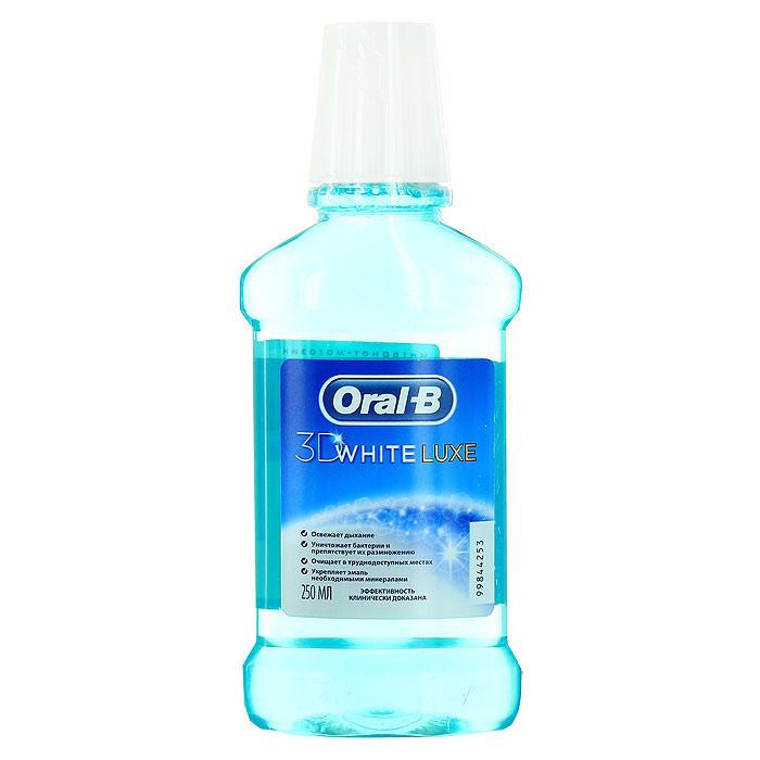 Ополаскиватель для рта Oral-B 3D White Luxe, 250 млORL-81296682Ополаскиватель для рта Oral-B 3D White Luxe - эффективное средство ежедневного ухода для тех, кому нужна всесторонняя защита полости рта. Препятствует возникновению кариеса в труднодоступных участках, защищает от образования налета. Формула ополаскивателя борется с бактериями даже в труднодоступных участках. Жидкий ополаскиватель также эффективно воздействует на межзубные промежутки, десны и слизистую оболочку.