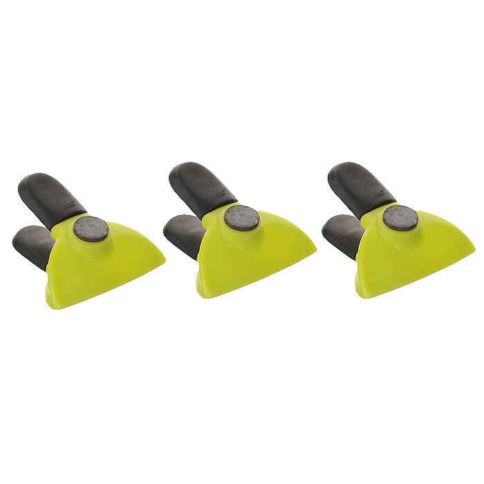 Набор зажимов для пакета Premier Housewares, с магнитом, цвет: зеленый, 3 шт0806397Набор Premier Housewares состоит из трех зажимов, выполненных из высококачественного пластика. Такими зажимами можно закрывать пакеты с молоком, чтобы оно не пролилось, печенье, чтобы оно не засохло и многое другое. Зажимы оснащены резиновыми вставками, которые не позволят выскользнуть изделию из рук даже во влажных условиях использования. Также зажимы имеют небольшие магниты, благодаря которым вы можете закрепить их на дверце холодильника или другой металлической поверхности, где они будут всегда под рукой.