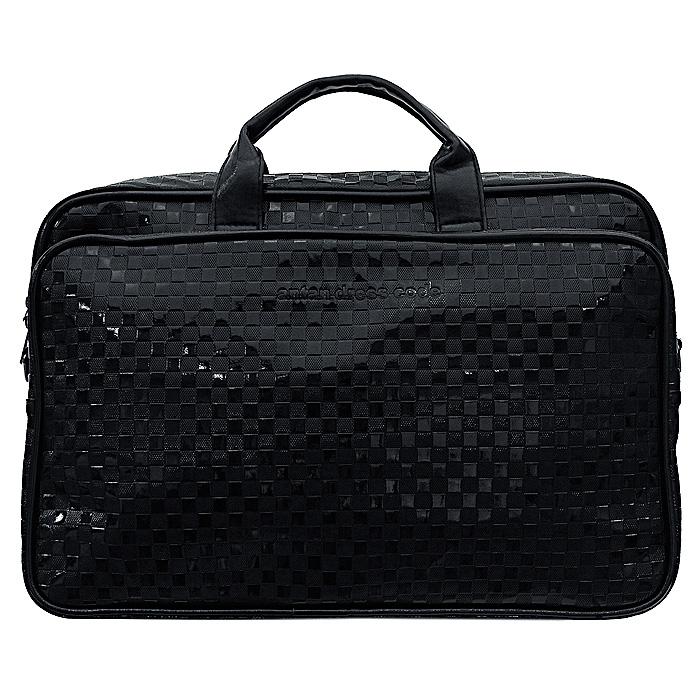 Сумка дорожная Antan, цвет: черный. 2-174 B343 CFВместительная дорожная сумка Antan выполнена из искусственной лаковой кожи черного цвета в квадратик. Внутри сумка состоит из одного отделения, содержащего два накладных сетчатых кармана. Сумка закрывается на застежку-молнию. На лицевой стороне сумки - объемный накладной карман на застежке-молнии. На задней стенке расположен дополнительный карман на застежке-молнии. Сумка оснащена двумя удобными прочными ручками и съемным плечевым ремнем.