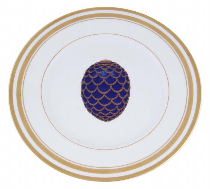 Тарелка Сосновая шишка. Фарфор, роспись, позолота. Франция, Фаберже, Лимож, конец ХХ века