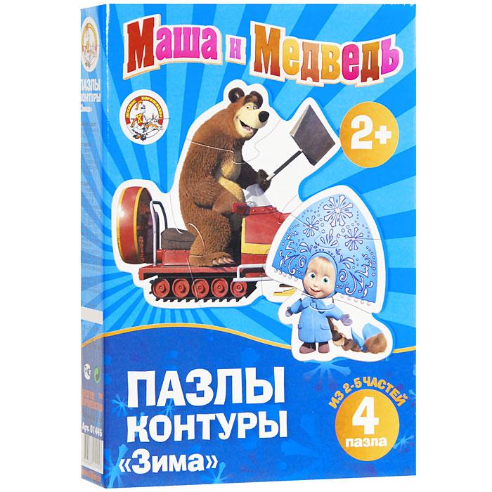 Десятое королевство Маша и Медведь: Зима. Пазл-контур 4в1, 11 элементов