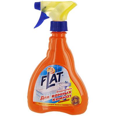 Очиститель для ванных комнат Flat, с ароматом апельсина, 480 г4600296000294Очиститель ванной комнаты идеален для интенсивной чистки ванн, в том числе джакузи, кранов, кафеля, душевых кабин и занавесок, любых стеклянных, пластиковых и акриловых изделий, а также для чистки сиденья туалета. Создает невидимую пленку, препятствующую дальнейшему загрязнению. Не оставляет царапин, смывается легко и быстро. Формула блеска основательно и быстро удаляет остатки мыла, жировые, известковые и другие загрязнения.