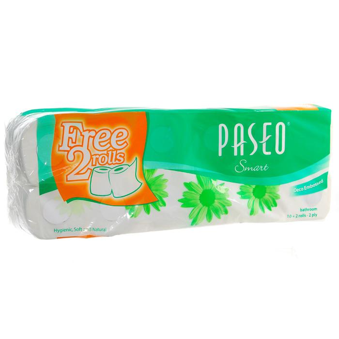 Туалетная бумага Paseo Smart, двухслойная, цвет: белый, 10 рулонов + 2 рулона в ПОДАРОК авто paseo в хабаровске