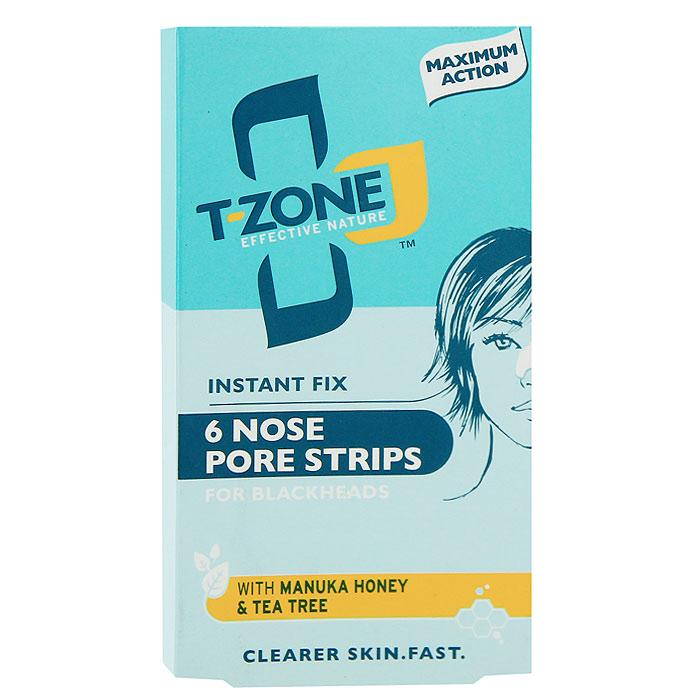 Полоски T-Zone для очищения пор носа, 6 шт10008Полоски T-Zone для очищения пор носа мгновенного действия очищают закупоренные поры и удаляют угри. Эффективная формула обеспечивает более чистую и гладкую кожу и помогает предотвратить появление прыщей. Мед Манука - антибактериальное средство нового поколения, успокаивает кожу, предотвращает появление прыщей. Заботится о вашей коже. Чайное дерево - сильное антимикробное и противовоспалительное средство, очищает кожу и борется с прыщами. Гамамелис - уменьшает появление прыщей и черных точек, удаляет излишки жира и сужает поры.