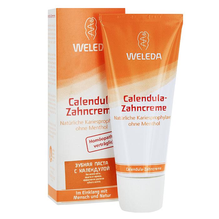 Weleda Зубная паста с календулой, без запаха мяты, 75 мл9801ПЗубная паста Weleda с календулой прекрасно подходит для ежедневного длительного применения. Эффективно удаляет зубной налет, обеспечивая защиту от кариеса. Рекомендована при прохождении лечения гомеопатическими препаратами и для тех, кто не любит мяту. Мягкое натуральное эфирное масло фенхеля создает ощущение свежести в ротовой полости.