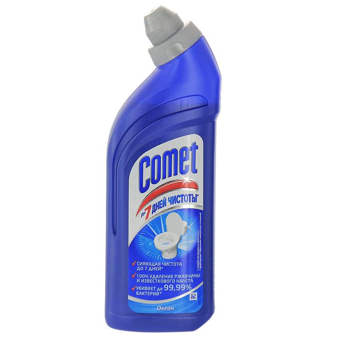 Средство чистящее Comet для туалета, океан, 500 мл700636Чистящее средство Comet для туалета сохраняет и продлевает чистоту до 7 дней, благодаря защитному слою. Средство отлично чистит и удаляет известковый налет и ржавчину, а также дезинфицирует поверхность. Придает свежий аромат.