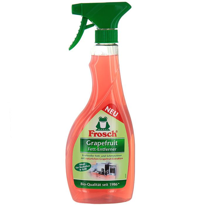 Чистящее средство Frosch для удаления жира, с экстрактом грейпфрута, 500 мл1101294Сильнодействующее чистящее средство Frosch, содержащее натуральный экстракт грейпфрута эффективно и быстро удаляет жир, стойкие загрязнения и засохшую грязь со всех моющихся поверхностей. Идеально подходит для мытья духовки, гриля, стеклокерамических и индукционных плит. Эргономичный флакон оснащен высоконадежным курковым распылителем, позволяющим легко и экономично наносить раствор на загрязненную поверхность.