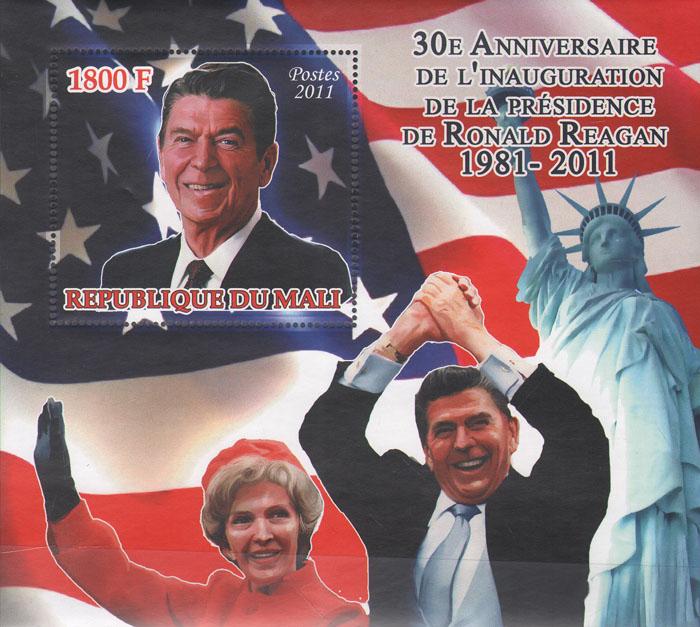 Почтовый лист 30 годовщина инаугурации президента Рональда Рейгана. Республика Мали, 2011 год211104Почтовый лист 30 годовщина инаугурации президента Рональда Рейгана. Республика Мали, 2011 год. Размер 14,3 х 12,8 см. Сохранность хорошая.