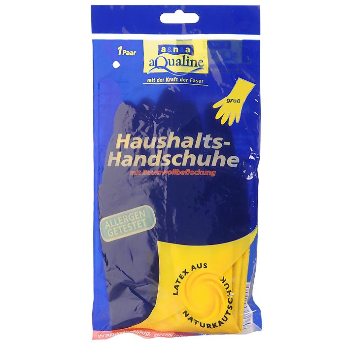 Перчатки резиновые Aqualine, легкие. Размер 9 (большой)9004Резиновые перчатки Aqualine предназначены для любых видов работ в доме и саду. Они эффективно предохраняют кожу от грязи и воздействия моющих средств. Руки не потеют благодаря внутреннему слою с флокированием из натурального хлопка. Они очень прочные, поэтому прослужат долгое время. Состав: натуральная резина, наполнитель, средства для вулканизации, стабилизаторы, диоксид титана.