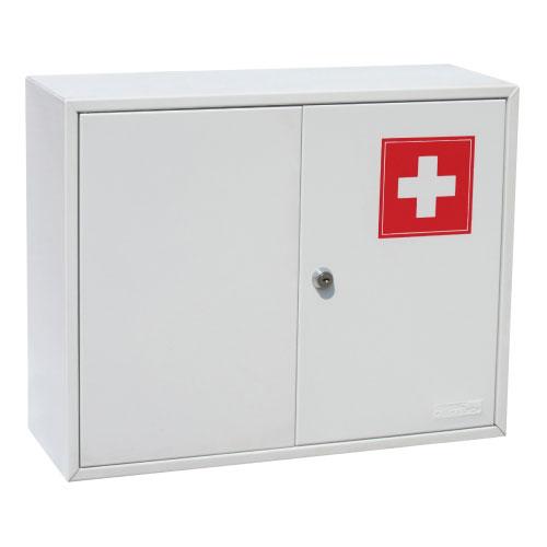 Шкаф для медикаментов Office-Force, двустворчатый, цвет: серый20098Двустворчатый шкаф-аптечка Office-Force является предметом первой необходимости, будь то дом, небольшой офис или промышленное предприятие. Стальной корпус покрашен методом напыления краски в серый цвет. Плотно закрывающиеся металлические дверцы с рисунком в виде медицинского креста ограждают содержимое шкафа от проникновения пыли и загрязнителей. Внутри ящика расположена металлическая перегородка, разделяющая шкаф на два отделения, в одном из которых предусмотрена металлическая полка. Аптечка крепится на стене при помощи дюбелей, входящих в комплект. Характеристики: Размер шкафа: 45 см х 15 см х 36 см. Размер упаковки: 36,5 см х 16 см х 46 см. Изготовитель: Китай.