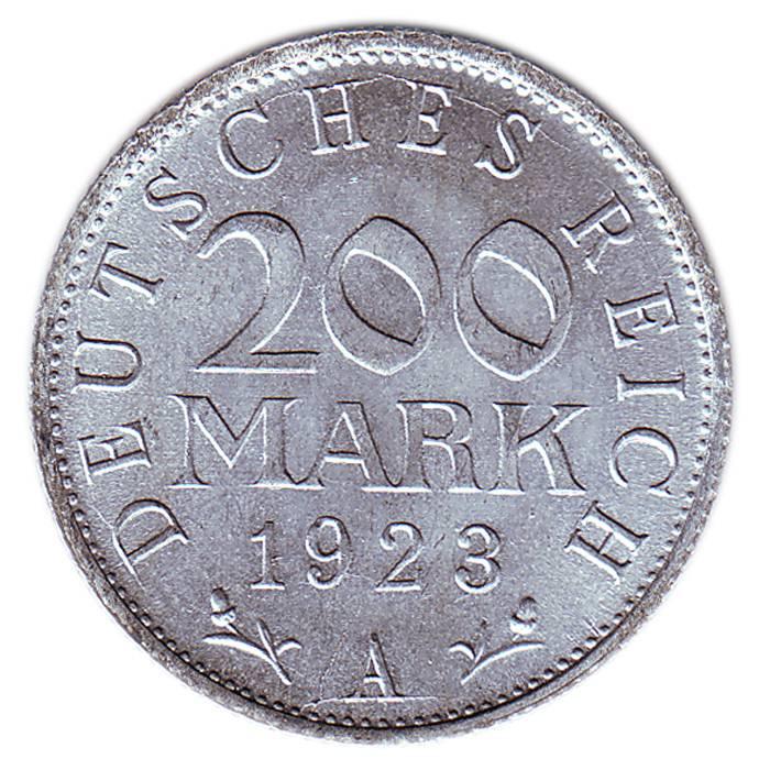 Монета номиналом 200 марок. Веймарская Республика, 1923 год211104Монета номиналом 200 марок. Веймарская Республика, 1923 год. Диаметр, мм: 23 Материал: Алюминий. Состояние: UNC (отличное, без обращения). Тираж, шт.: 174 900 000.