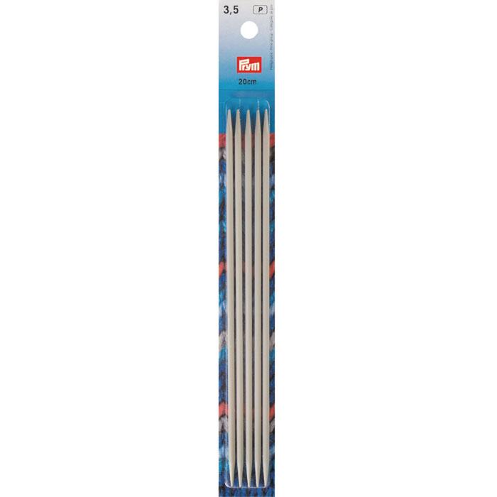 Спицы Prym алюминиевые чулочно-носочные, цвет: жемчужно-серый, диаметр 3,5 мм, 5 шт191491Спицы Prym, изготовленные из алюминия, имеют жемчужно-серое покрытие, благодаря которому петли хорошо скользят по поверхности спиц. Спицы прочные, легкие, гладкие, удобные в использовании. Кончики спиц закругленные. Металлические спицы без ограничителей предназначены для вязания шапочек, варежек и носков. Вы сможете вязать для себя, делать подарки друзьям. Рукоделие всегда считалось изысканным, благородным делом. Работа, сделанная своими руками, долго будет радовать вас и ваших близких.