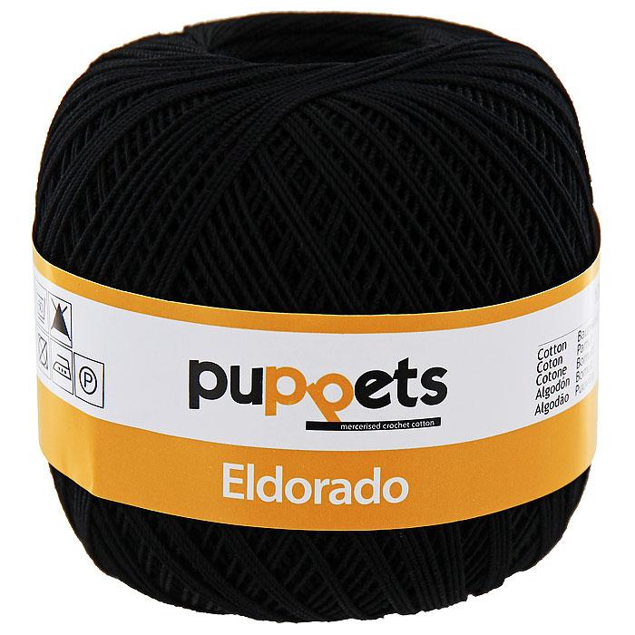 Пряжа для вязания крючком Puppets Eldorado, цвет: черный (04251)4574010 - 04251Пряжа для вязания крючком Eldorado (Эльдорадо) нить кроше - это качественная нить с улучшенным внешним видом и расширенным ассортиментом для создания одежды и аксессуаров, а также изделий, которые украсят ваш дом. Пряжа для вязания Eldorado состоит из мерсеризированного хлопка. Мерсеризация - обработка пряжи крепким раствором щелочи (едкого натра) под напряжением. Этот метод был разработан в первой половине XIX века английским химиком Джоном Мерсером. После такой обработки хлопковые волокна приобретают новые свойства: шелковистый блеск, мягкость, дополнительную прочность, на 25% повышается допустимое растягивающее усилие. Натуральный хлопок не имеет блеска. После мерсеризации его удается окрасить в любые яркие тона. Пряжа из хлопка является экологически чистой, так как производится из натурального материала.