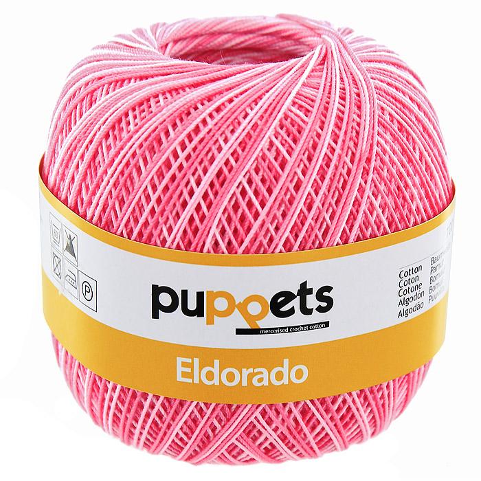 Пряжа для вязания крючком Puppets Eldorado Multicolour, цвет: ярко-розовый меланж (00038), 265 м, 50 г4578010 - 00038Пряжа для вязания крючком Eldorado Multicolour (Эльдорадо Мультиколор) нить кроше - это качественная нить с улучшенным внешним видом и расширенным ассортиментом для создания одежды и аксессуаров, а также изделий, которые украсят ваш дом. Пряжа для вязания Eldorado Multicolour состоит из мерсеризированного хлопка. Мерсеризация - обработка пряжи крепким раствором щелочи (едкого натра) под напряжением. Этот метод был разработан в первой половине XIX века английским химиком Джоном Мерсером. После такой обработки хлопковые волокна приобретают новые свойства: шелковистый блеск, мягкость, дополнительную прочность, на 25% повышается допустимое растягивающее усилие. Натуральный хлопок не имеет блеска. После мерсеризации его удается окрасить в любые яркие тона. Пряжа из хлопка является экологически чистой, так как производится из натурального материала.
