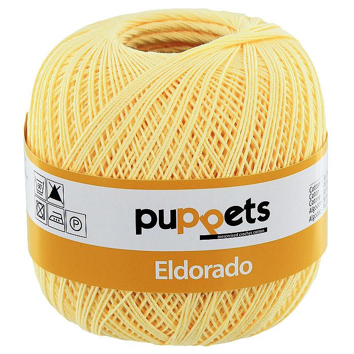 Пряжа для вязания крючком Puppets Eldorado, цвет: светло-желтый (07515)4574010 - 07515Пряжа для вязания крючком Eldorado (Эльдорадо) нить кроше - это качественная нить с улучшенным внешним видом и расширенным ассортиментом для создания одежды и аксессуаров, а также изделий, которые украсят ваш дом. Пряжа для вязания Eldorado состоит из мерсеризированного хлопка. Мерсеризация - обработка пряжи крепким раствором щелочи (едкого натра) под напряжением. Этот метод был разработан в первой половине XIX века английским химиком Джоном Мерсером. После такой обработки хлопковые волокна приобретают новые свойства: шелковистый блеск, мягкость, дополнительную прочность, на 25% повышается допустимое растягивающее усилие. Натуральный хлопок не имеет блеска. После мерсеризации его удается окрасить в любые яркие тона. Пряжа из хлопка является экологически чистой, так как производится из натурального материала.