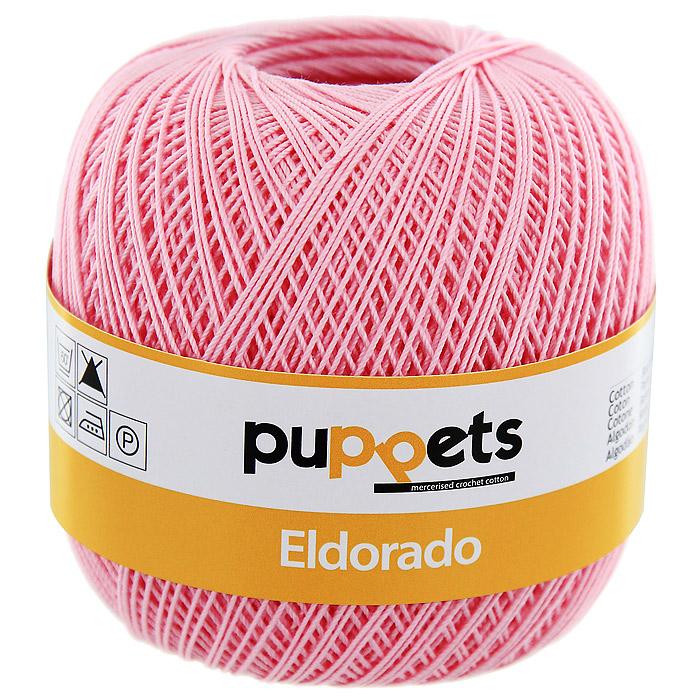 Пряжа для вязания крючком Puppets Eldorado, цвет: розовый (07511)4574010 - 07511Пряжа для вязания крючком Eldorado (Эльдорадо) нить кроше - это качественная нить с улучшенным внешним видом и расширенным ассортиментом для создания одежды и аксессуаров, а также изделий, которые украсят ваш дом. Пряжа для вязания Eldorado состоит из мерсеризированного хлопка. Мерсеризация - обработка пряжи крепким раствором щелочи (едкого натра) под напряжением. Этот метод был разработан в первой половине XIX века английским химиком Джоном Мерсером. После такой обработки хлопковые волокна приобретают новые свойства: шелковистый блеск, мягкость, дополнительную прочность, на 25% повышается допустимое растягивающее усилие. Натуральный хлопок не имеет блеска. После мерсеризации его удается окрасить в любые яркие тона. Пряжа из хлопка является экологически чистой, так как производится из натурального материала.