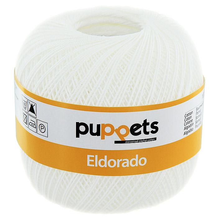 Пряжа для вязания крючком Puppets Eldorado, цвет: белый (07001)4574010 - 07001Пряжа для вязания крючком Eldorado (Эльдорадо) нить кроше - это качественная нить с улучшенным внешним видом и расширенным ассортиментом для создания одежды и аксессуаров, а также изделий, которые украсят ваш дом. Пряжа для вязания Eldorado состоит из мерсеризированного хлопка. Мерсеризация - обработка пряжи крепким раствором щелочи (едкого натра) под напряжением. Этот метод был разработан в первой половине XIX века английским химиком Джоном Мерсером. После такой обработки хлопковые волокна приобретают новые свойства: шелковистый блеск, мягкость, дополнительную прочность, на 25% повышается допустимое растягивающее усилие. Натуральный хлопок не имеет блеска. После мерсеризации его удается окрасить в любые яркие тона. Пряжа из хлопка является экологически чистой, так как производится из натурального материала.