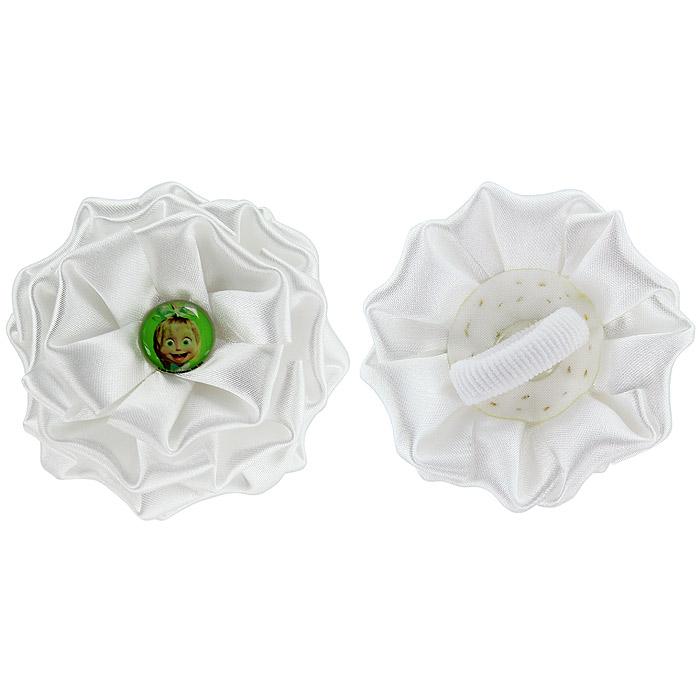 Резинка для волос Бант, цвет: белый, 2 шт331038Резинка для волос Бант подчеркнет красоту прически вашей маленькой модницы. Резинка выполнена из атласного материала, в виде белого цветка и украшена посередине вставкой с изображением Маши, героини мультсериала Маша и Медведь. Комплект включает две резинки.