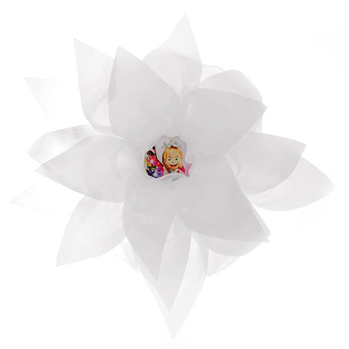 Резинка для волос Цветок, цвет: белый331038Резинка для волос Цветок подчеркнет красоту прически вашей маленькой модницы. Резинка выполнена в виде большого белого цветка, украшенного посередине вставкой с изображением Маши, героини мультсериала Маша и Медведь.