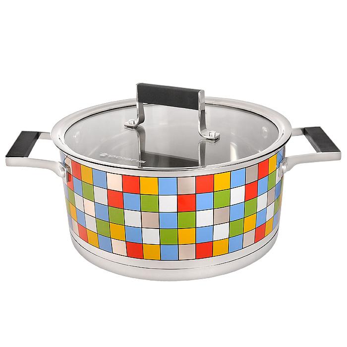 Кастрюля Polaris Mosaic с крышкой, 5 лMOSAIC 24СКастрюля Polaris Mosaic идеально подойдет для приготовления вкусной и здоровой пищи. Она изготовлена из высококачественной нетоксичной хромоникелевой нержавеющей стали 18/10. Зеркальная полировка с уникальной мозаичной деколью с внешней стороны придает посуде привлекательный вид. Специальное утолщенное тройное дно (5,6 мм) с прослойкой из алюминия (4,5 мм) обеспечивает быстрый и равномерный нагрев кастрюли. Специальная обработка стенок и дна значительно облегчает процесс чистки и мытья посуды. На внутренней стороне стенок имеются отметки литража, что является дополнительным удобством во время приготовления пищи. Кастрюля снабжена двумя удобными не нагревающимися комбинированными ручками из стали с силиконовыми вставками. К кастрюле прилагается крышка, которая позволяет готовить пищу без потери тепла, сокращает сроки приготовления продуктов, максимально сохраняет витамины, микроэлементы и питательные вещества. Она оснащена металлическим ободом и специальным отверстием для...