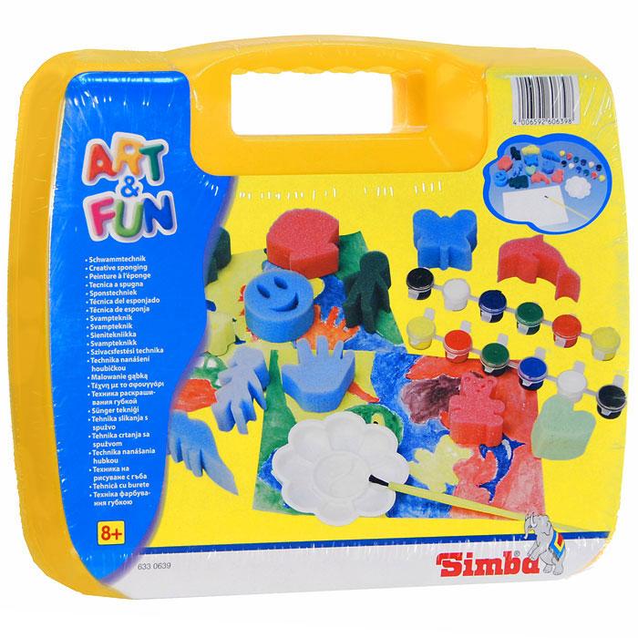 Simba Набор для раскрашивания губкой Art & Fun, в чемоданчике, цвет: желтый6330639С набором для раскрашивания губкой Art & Fun каждый сможет стать начинающим художником и создать свою собственную яркую и красивую картинку. Набор содержит в себе пять чистых листов, 12 акриловых красок, кисточку, палитру и 12 разноцветных губок различной формы. Для того, чтобы получился рисунок, нужно обвести губку, а затем раскрасить ее, как подскажет фантазия. Таким образом, шаг за шагом у вас получатся веселые картинки. Если ваши дети любят рисовать и заниматься изобразительным искусством, то, несомненно, этот набор для них станет лучшим подарком.