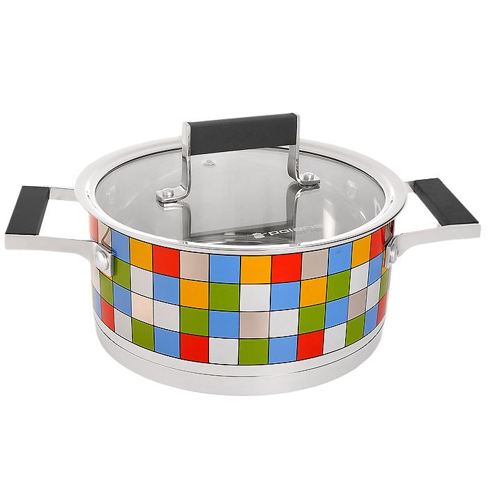 Кастрюля Polaris Mosaic с крышкой, 3 лMOSAIC 20SPКастрюля Polaris Mosaic идеально подойдет для приготовления вкусной и здоровой пищи. Она изготовлена из высококачественной нетоксичной хромоникелевой нержавеющей стали 18/10. Зеркальная полировка с уникальной мозаичной деколью с внешней стороны придает посуде привлекательный вид. Специальное утолщенное тройное дно (5,6 мм) с прослойкой из алюминия (4,5 мм) обеспечивает быстрый и равномерный нагрев кастрюли. Специальная обработка стенок и дна значительно облегчает процесс чистки и мытья посуды. На внутренней стороне стенок имеются отметки литража, что является дополнительным удобством во время приготовления пищи. Кастрюля снабжена двумя удобными не нагревающимися комбинированными ручками из стали с силиконовыми вставками. К кастрюле прилагается крышка, которая позволяет готовить пищу без потери тепла, сокращает сроки приготовления продуктов, максимально сохраняет витамины, микроэлементы и питательные вещества. Стальная ручка крышки также имеет силиконовую вставку, которая...