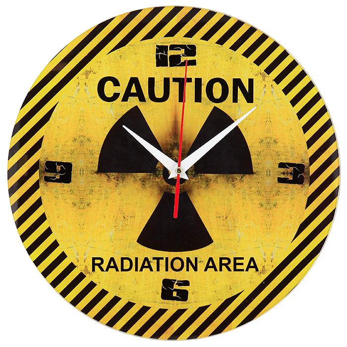 Часы настенные Caution93515Настенные кварцевые часы Caution своим необычным дизайном подчеркнут стильность и оригинальность интерьера вашего дома. Циферблат часов круглой формы выполнен из стекла и оформлен изображением знака Радиация. Часы имеют три стрелки - часовую, минутную и секундную. На задней стенке часов расположена металлическая петелька для подвешивания. Такие часы послужат отличным подарком для ценителя ярких и необычных вещей. Характеристики: Материал: стекло, металл. Диаметр часов: 28 см. Размер упаковки: 30 см х 29,5 см х 4,5 см. Артикул: 93515. Рекомендуется докупить батарейку типа АА (не входит в комплект).