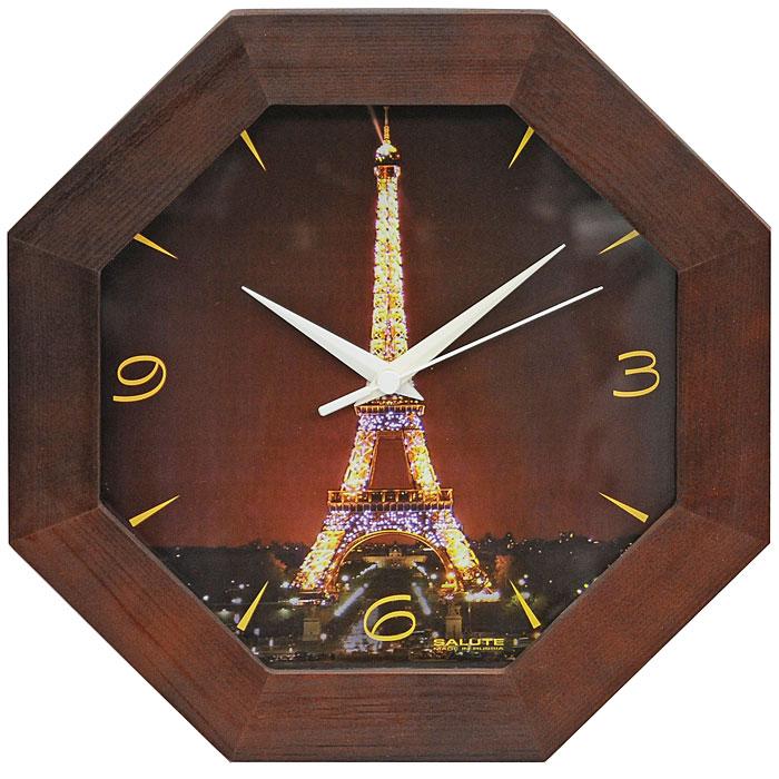 Часы настенные Эйфелева башня490136Настенные кварцевые часы Эйфелева башня в деревянной рамке с оригинальным рисунком, защищенным стеклом, подчеркнут индивидуальность вашего дома. Часы имеют три стрелки - часовую, минутную и секундную. Эта модель подойдет для гостиной, прихожей и комнаты и послужит идеальным подарком для друзей и близких. Характеристики: Материал: дерево, стекло, пластик. Диаметр часов: 33 см. Толщина часов: 4 см. Размер упаковки: 32 см х 32 см х 5 см. Производитель: Россия. Модель: ДС - ВВ29 - 341. Артикул: 490136. Рекомендуется докупить батарейку типа АА 1,5V (товар комплектуется демонстрационной).