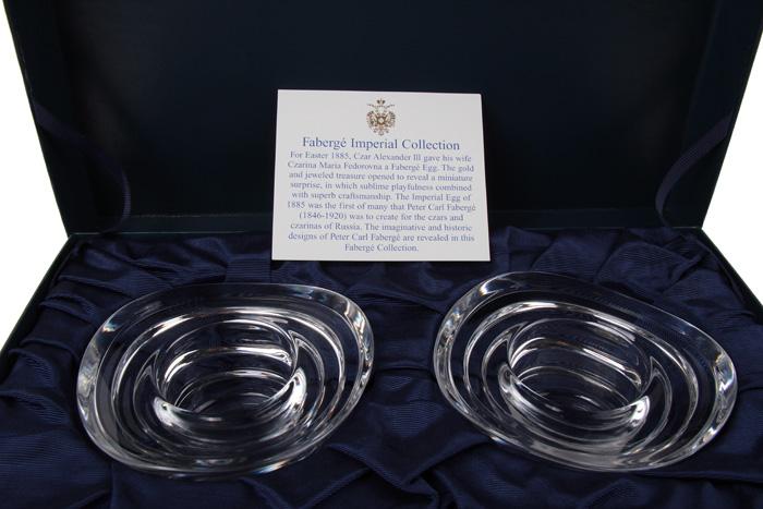 Подсвечники парные. Хрусталь, гранение, House of Faberge. Конец XX века