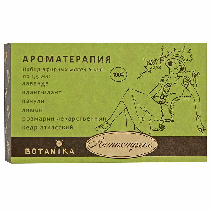 Набор эфирных масел Botanika Антистресс, 6x1,5 мл00007902В набор Botanika Антистресс входят 100% эфирные масла: иланг-иланг, кедр атласский, лаванда, пачули, лимон, розмарин лекарственный. Отличное общеукрепляющее, успокаивающее и релаксирующее профилактическое средство. Благодаря сбалансированному набору эфирных масел, нормализующих тонус организма, Антистресс улучшает обменные процессы, особенно в нервных тканях и мозге, повышает мобилизующие ресурсы организма при стрессе, предупреждает развитие предболезненных изменений и вредных последствий хронического психоэмоционального напряжения и переутомления. Регулярное применение, как отдельных масел, так и композиций станет основой вашего хорошего самочувствия и стабильного эмоционального состояния каждый день. Характеристики: Объем: 6 x 1,5 мл. Производитель: Россия. Товар сертифицирован.