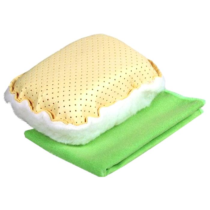 Набор для мытья и полировки автомобиля Pingo, цвет: желтый, салатовый, 2 предмета5820Набор для мытья и полировки автомобиля Pingo состоит из универсальной губки с мехом и салфетки из микрофибры. Универсальная губка с мехом предназначена для удаления влаги или конденсации с запотевших стекол. Меховая сторона губки может применяться для нанесения полироли на кузов автомобиля. Салфетка из микрофибры предназначена для полировки кузова автомобиля, для чистки лобового стекла, пластика и хрома. Может быть использована без химических средств, отлично впитывает воду, пыль и грязь. Сильно загрязненную салфетку промыть в теплой воде. При стирке не использовать отбеливатель и смягчающие средства, не гладить. Состав губки: 80% вискоза, 20% полипропилен, мех, полиэстер, пенополиуретан. Состав салфетки: 70% полиэстер, 30% полиамид. Размер губки: 13 х 9 х 5 см. Размер салфетки: 31 х 31 см.
