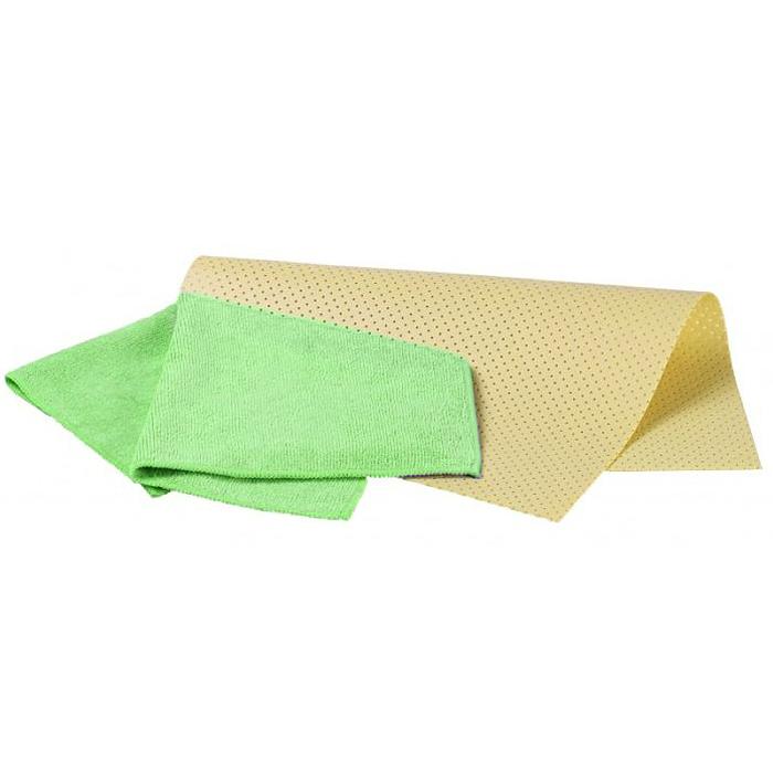Набор салфеток для ухода за автомобилем Pingo, цвет: желтый, зеленый, 2 шт5837Набор Pingo включает две салфетки из синтетической замши и микрофибры. Салфетка из синтетической замши идеально подходит для протирки мокрых лакокрасочных и хромированных поверхностей, стекол и поверхностей из искусственных материалов, для чистки приборной панели автомобиля. Махровая салфетка из микрофибры предназначена для полировки кузова автомобиля, для чистки лобового стекла, пластика и хрома, обивки сидений, для влажной и сухой уборки. Изделия отлично впитывают влагу, быстро и эффективно удаляют пыль и грязь. Могут применяться без использования дополнительных чистящих средств. Материалы: 80% вискоза, 20% пропилен; 70% полиэстер, 30% полиамид. Размер салфеток: 40 х 30 см; 32 х 32 см.