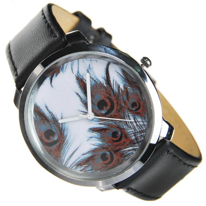 Часы Mitya Veselkov Павлиньи перья в черно-белом. MV-102