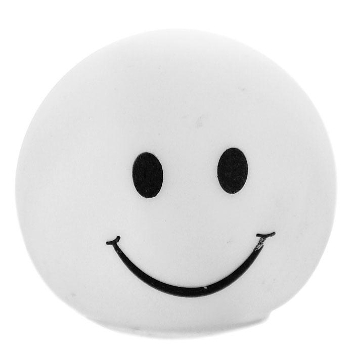 Светильник-ночник Smile, 6,5 см93519Светильник-ночник Smile послужит не только оригинальным ночником, создающим уют, но и забавным сувениром! Миниатюрный настольный светильник, выполненный из пластика в виде смайлика, светится попеременно разными цветами. Такой ночник может украсить детскую комнату, а также станет прекрасным сувениром к празднику. Характеристики: Материал: полипропилен. Цвет: белый. Размер ночника: 6,5 см х 5,5 см х 6,5 см. Размер упаковки: 6,5 см х 6,5 см 6,5 см. Артикул: 93519. Работает от 3 батареек 4,5V (товар комплектуется демонстрационными).
