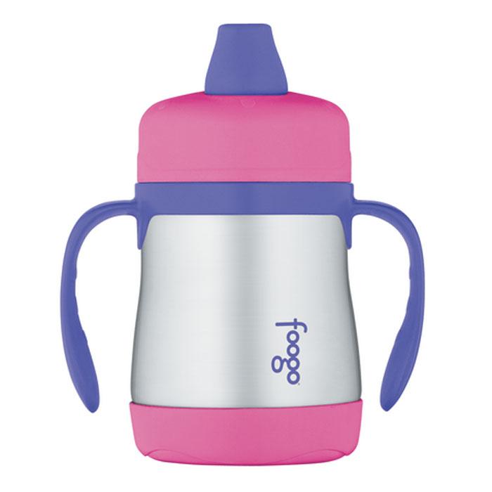 Термос-поильник Phases Foogo с мягким носиком и ручками, цвет: розовый, сиреневый, 200 мл
