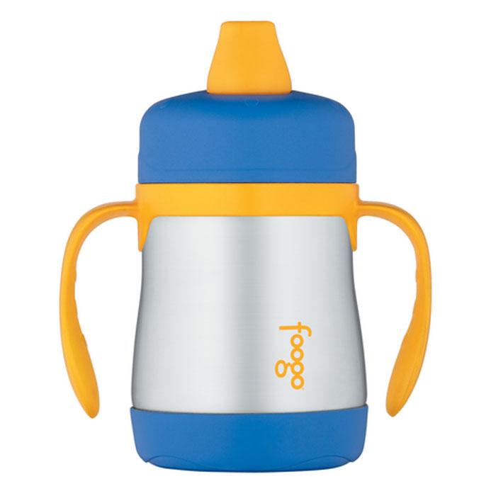 Термос-поильник Phases Foogo с мягким носиком и ручками, цвет: синий, желтый, 200 мл