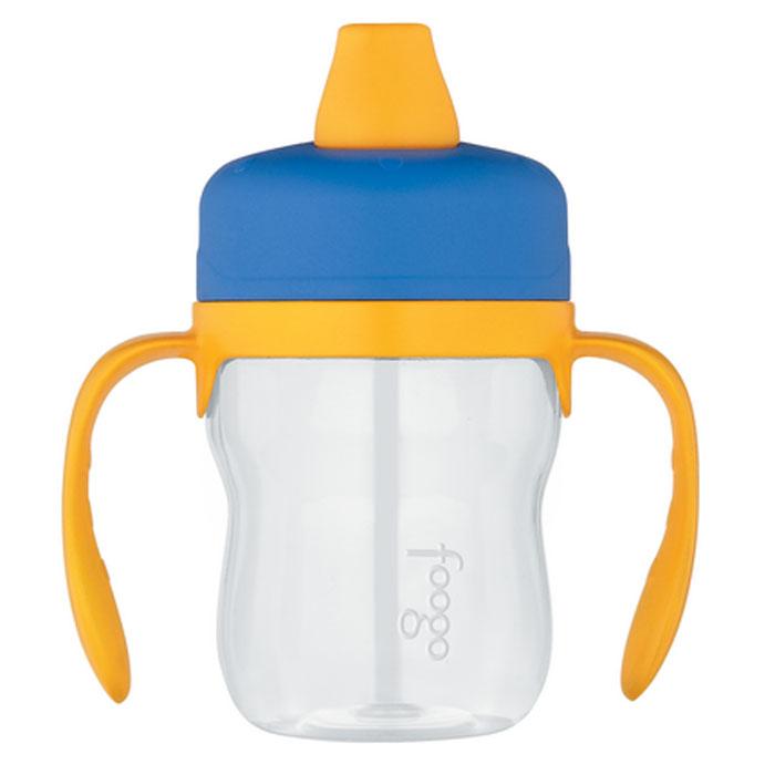 Поильник Phases Foogo, с мягким носиком и ручками, цвет: синий, желтый, 235 мл