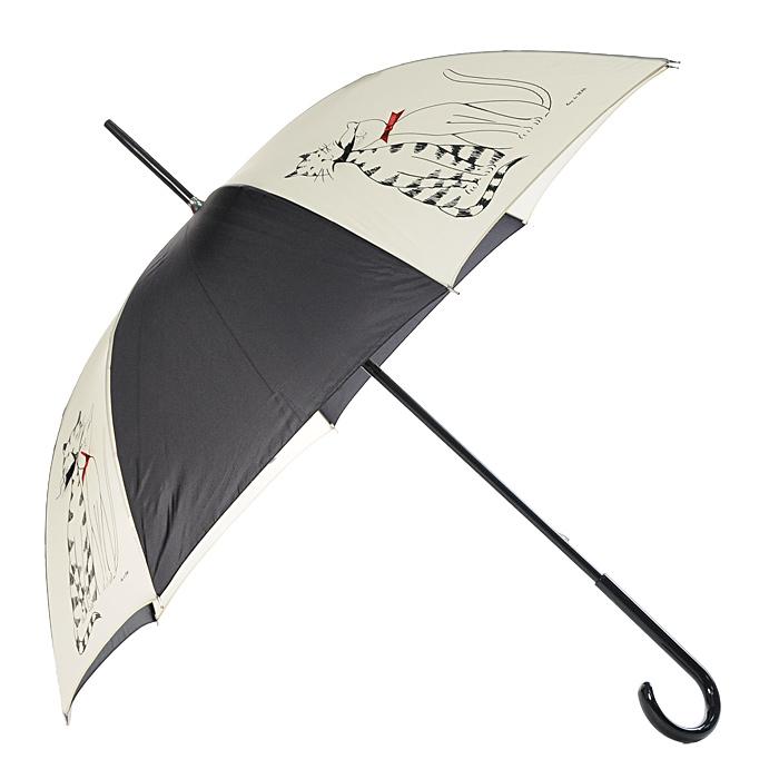 Зонт-трость Guy de Jean, механический, цвет: черный, кремовый14 GDJ MоnetСтильный механический зонт-трость Guy de Jean имеет каркас из 8 металлических спиц и купол, выполненный из прочного полиэстера. Купол оформлен изображением кошек. Рукоятка закругленной формы разработана с учетом требований эргономики и выполнена из дерева. Зонт механического сложения: купол открывается и закрывается вручную до характерного щелчка. Такой зонт не только надежно защитит вас от дождя, но и станет стильным аксессуаром.