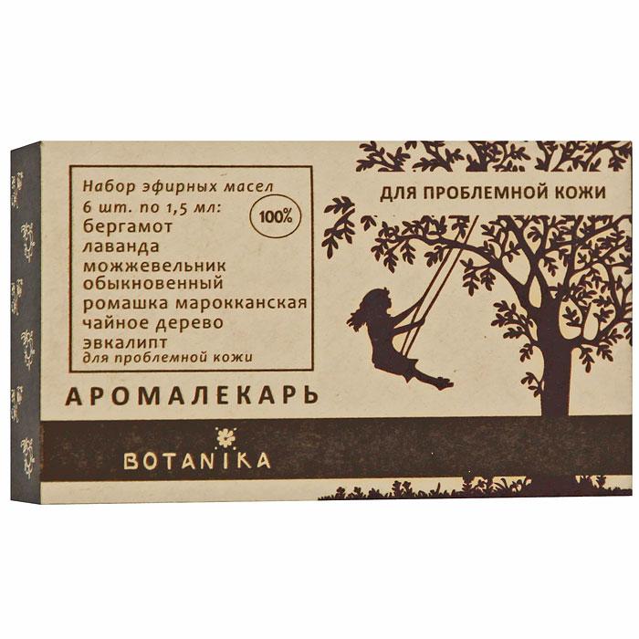 Набор эфирных масел Botanika, для проблемой кожи, 6x1,5 мл00007935В набор Botanika для проблемной кожи входят 100% эфирные масла: чайное дерево, можжевельник обыкновенный, бергамот, лаванда, ромашка марокканская, эвкалипт. Проблемная кожа нуждается в постоянном и особенно тщательном уходе. Ее необходимо дезинфицировать, чтобы избежать высыпаний и воспалений, но при этом питать, увлажнять и стимулировать регенерацию тканей. Выбор косметических средств для проблемной кожи - задача не из легких. Эфирные масла помогут вам справиться с проблемами и сделать кожу гладкой и здоровой: с их помощью вы можете создать собственный рецепт красоты или усилить действие ваших любимый кремов, тоников и других средств ухода за кожей. Характеристики: Объем: 6 x 1,5 мл. Производитель: Россия. Товар сертифицирован.