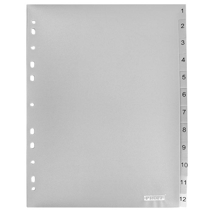 Разделитель цифровой Proff, пластиковый, 1-12, цвет: серый, формат А420-3126Цифровой разделитель листов Proff - удобный офисный инструмент, предназначенный для классификации документов и рабочих бумаг формата А4. Универсальная перфорация совместима со всеми видами кольцевых механизмов. Комплект включает 12 разделителей из высококачественного полипропилена серого цвета с цифровыми указателями от 1 до 12. Характеристики: Размер разделителя: 29,5 см x 23 см. Формат: А4. Количество: 12 шт. Изготовитель: Китай.