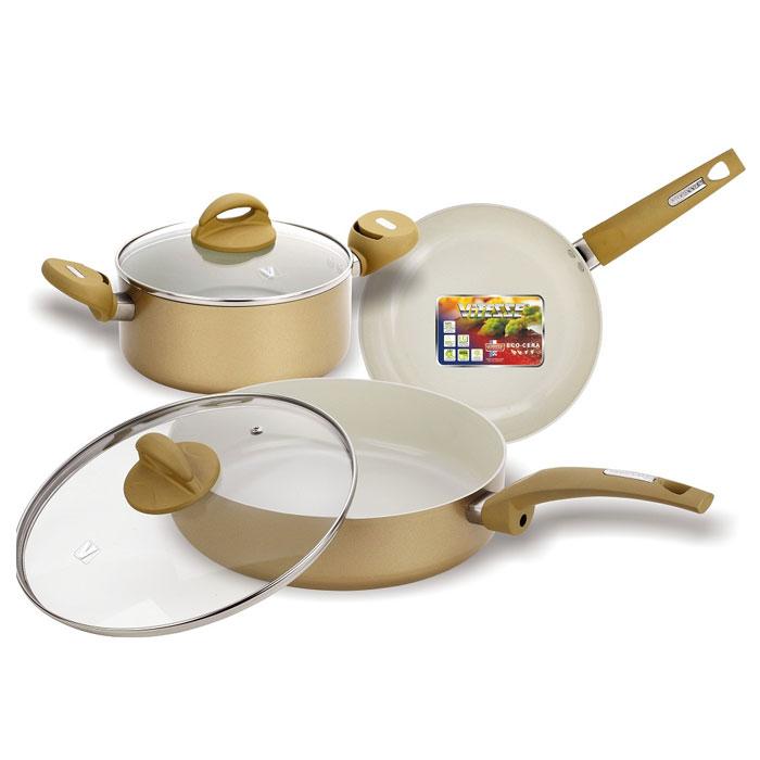 Набор посуды Vitesse, цвет: кремовый, 5 предметовVS-2225Набор посуды Vitesse изготовлен из высококачественного алюминия. Набор включает: кастрюлю с крышкой, сотейник с крышкой и сковороду. Он прекрасно подойдет для вашей кухни. Особенности набора: - изготовлен из высококачественного алюминия, толщина 2,5 мм; - внешнее элегантное цветное покрытие, подвергшееся высокотемпературной обработке; - бакелитовая, высокопрочная, огнестойкая, ненагревающаяся ручка удобной формы на заклепках; - внутреннее антипригарное керамическое покрытие Eco-Cera не содержит PFOA, благодаря чему, оно безопасно для здоровья человека и позволяет готовить при температуре 450°С; - можно использовать металлическую лопатку (нельзя использовать острые металлические предметы); - быстрый нагрев и равномерное распределение по всей поверхности; - стеклянная жаропрочная крышка с отверстием для пара и металлическим ободом по краю, который предотвратит скол стекла и обеспечит наилучшее прилегание. Посуду можно...