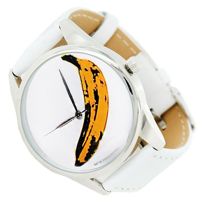 Часы Mitya Veselkov Банан. MV.White-29MV.White-29Наручные часы Mitya Veselkov Банан созданы для современных людей. Часы оснащены японским кварцевым механизмом. Ремешок выполнен из натуральной кожи белого цвета, корпус изготовлен из стали серебристого цвета. Циферблат оформлен изображением банана на белом фоне.