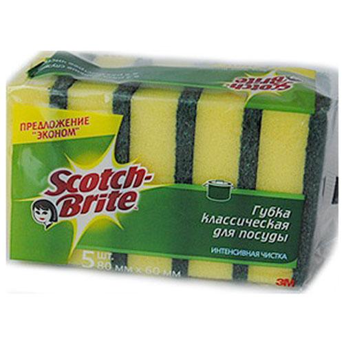 Губка для мытья посуды Scotch-Brite, 5 шт11010Набор из 5 губок Scotch-Brite предназначен для мытья посуды. Лучшая губка для вашей кухни! Идеально удаляет жир, грязь и пригоревшую пищу. Отлично подходит как для посуды, так и для любой другой поверхности. Для удобства применения с одной стороны губки нанесен абразивный слой. Губки сохраняют чистоту и свежесть даже после многократного применения, а их эргономичная форма удобна для руки. Характеристики: Материал: сложные полимеры. Размер: 6 см х 8 см х 2,5 см. Количество: 5 шт. Изготовитель: Россия. Артикул: 11010. УВАЖАЕМЫЕ КЛИЕНТЫ! Обращаем ваше внимание на возможные изменения в дизайне упаковки. Поставка осуществляется в зависимости от наличия на складе. Комплектация осталась без изменений.