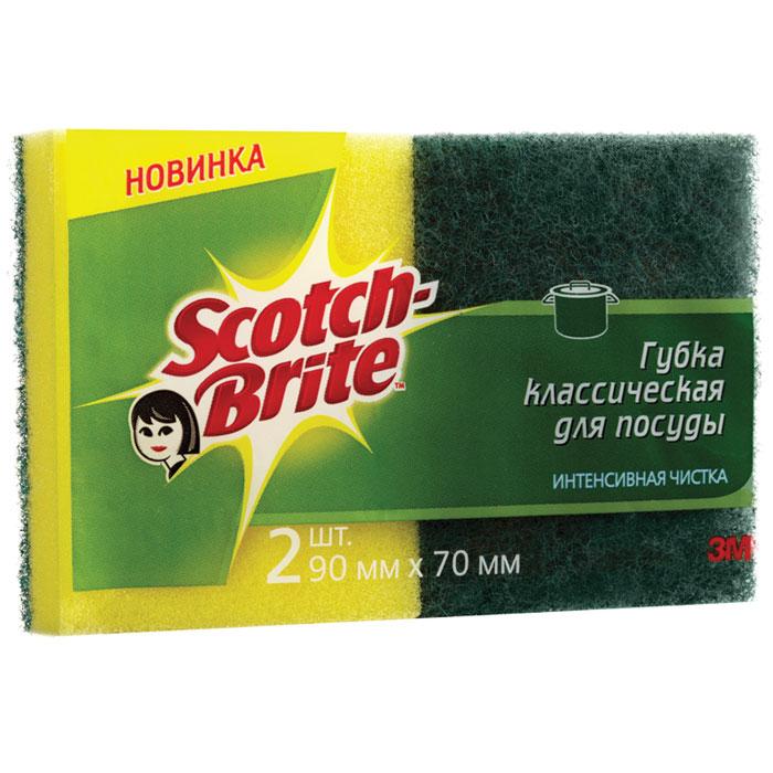 Губка для мытья посуды Scotch-Brite, 2 шт11006Набор из 2 губок Scotch-Brite предназначен для мытья посуды. Лучшая губка для вашей кухни! Идеально удаляет жир, грязь и пригоревшую пищу. Отлично подходит как для посуды, так и для любой другой поверхности. Для удобства применения с одной стороны губки нанесен абразивный слой. Губки сохраняют чистоту и свежесть даже после многократного применения, а их эргономичная форма удобна для руки.